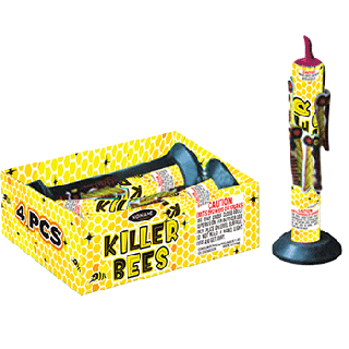 Killer Bees   4 Pack 200 Gram Fountain By No Name Fireworks